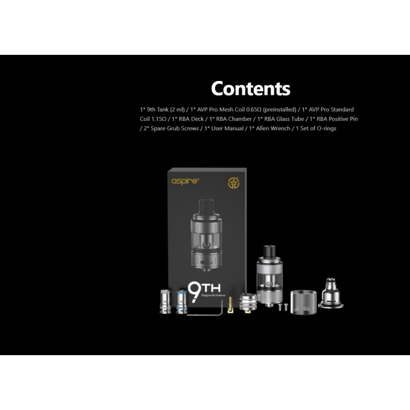 Aspire x NoName Mods 9th Tank Lieferumfang