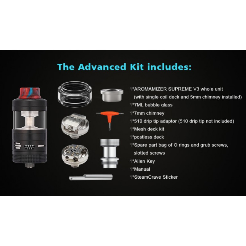 Steam Crave Aromamizer V3 RDTA Advanced Kit Lieferumfang