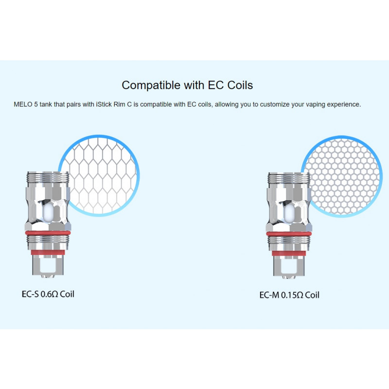 Eleaf Rim C mit Melo 5 nutzbare EC Coils