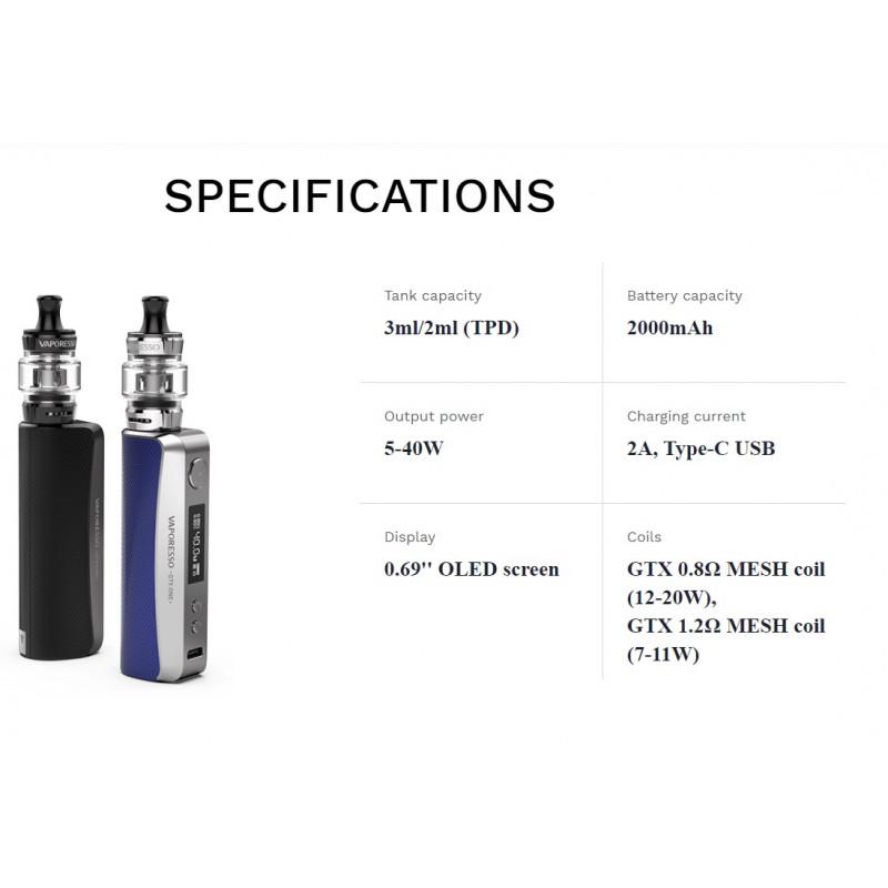 Vaporesso GTX One Kit Spezifikationen