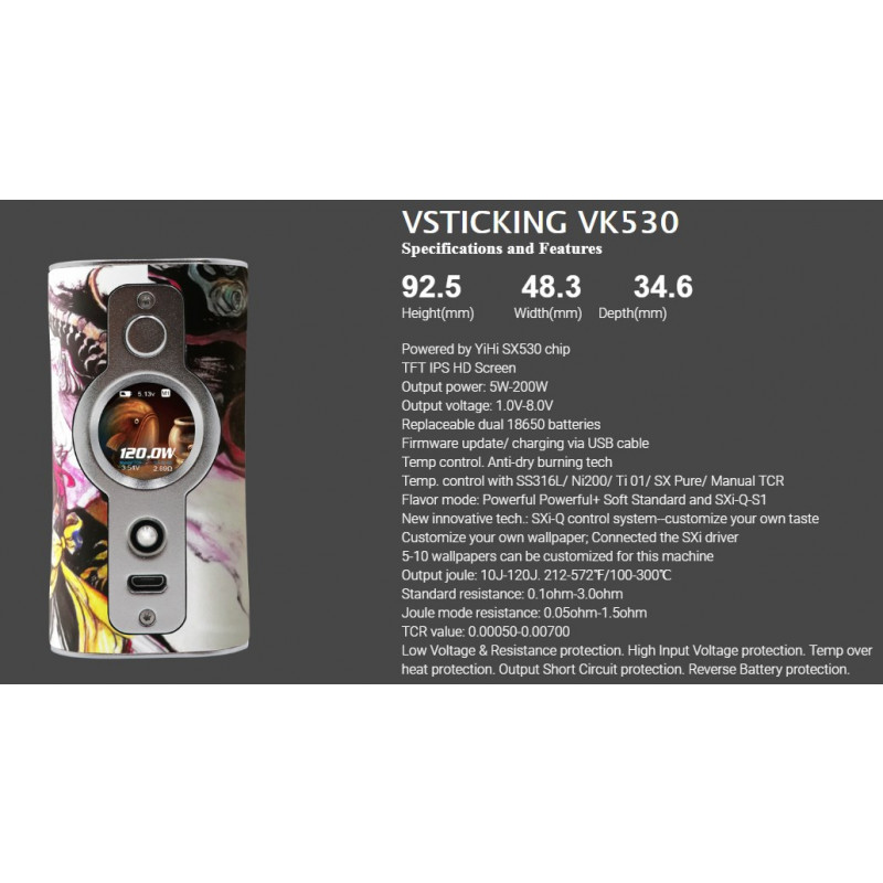 Vsticking VK530 Mod Spezifikationen