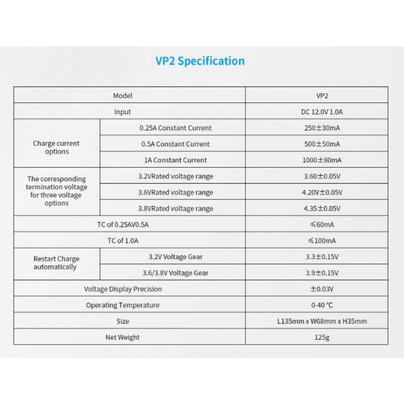 Xtar VP2 Spezifikationen