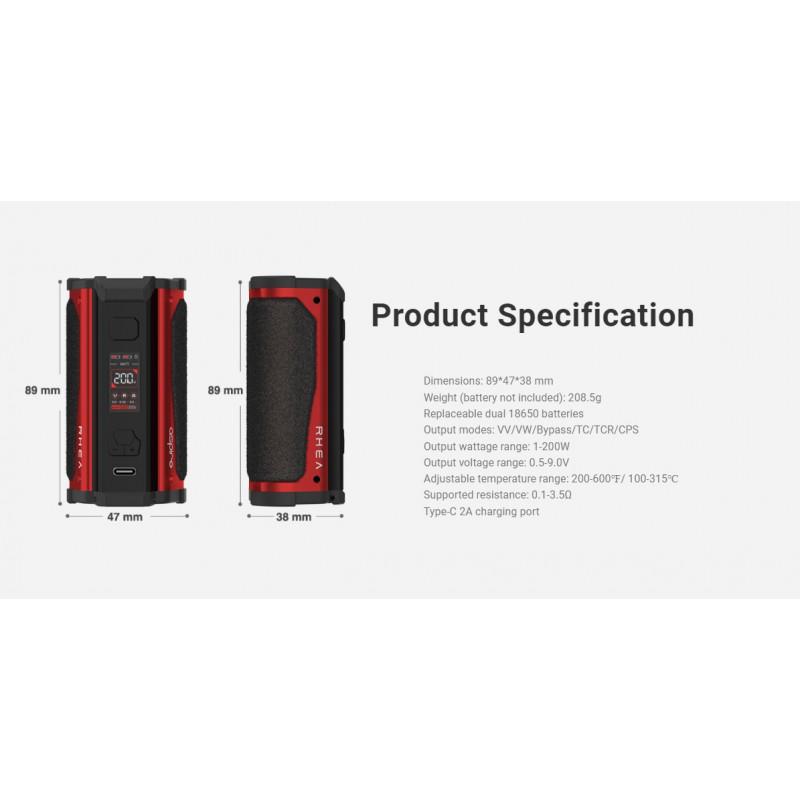 Aspire Rhea 200W Mod Spezifikationen