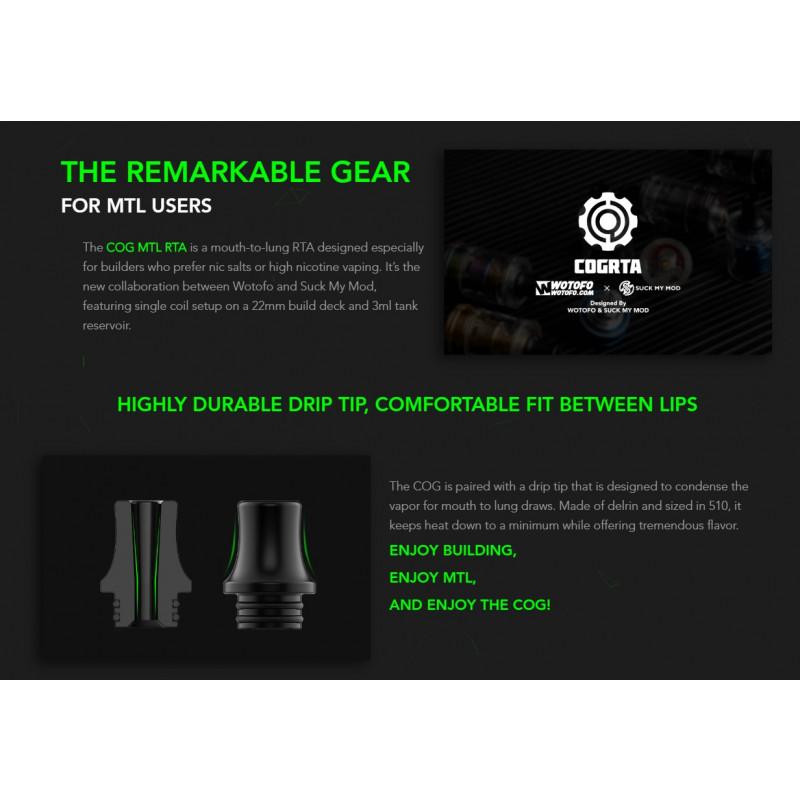Wotofo COG MTL RTA Airflow Zahnräder und Drip Tip erklärt