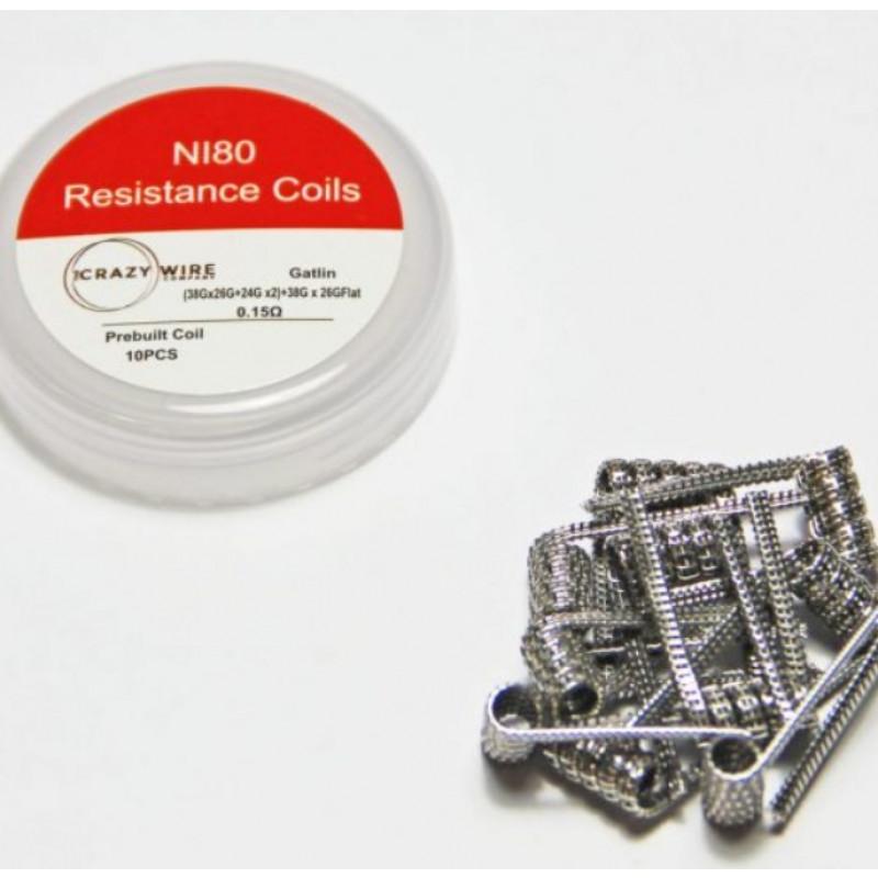 Crazy Wire Pre-Made Ni80 Gatlin Coils 0.15 Ω mit Schachtel