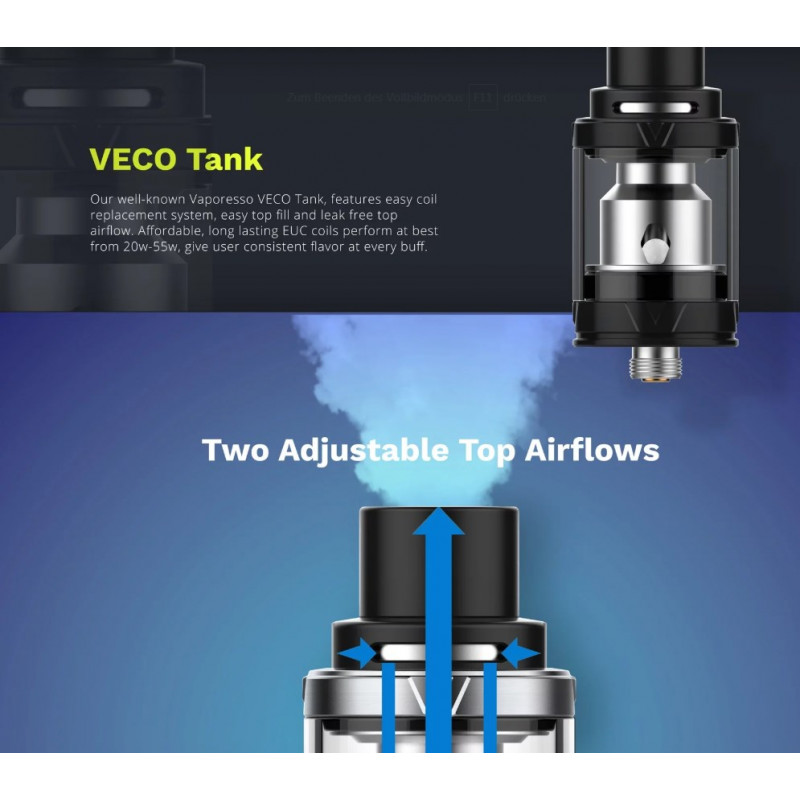 Vaporesso Tarot Nano Kit Tank Eigenschaften